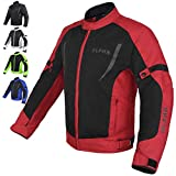 HI VIS MESH MOTORCYCLE JACKET FOR MENS RIDING BIKERS RACING DUAL SPORTS BIKE ARMORED PROTECTIVE (RED, SMALL)