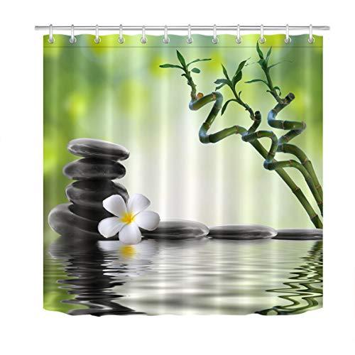 LB Zen SPA Cortinas de baño Blanco Orquídea Negro Piedra Verde Bambú Largas Resistente al Agua Antimoho Tejido de Poliéster Decoración de Baño,150X180CM