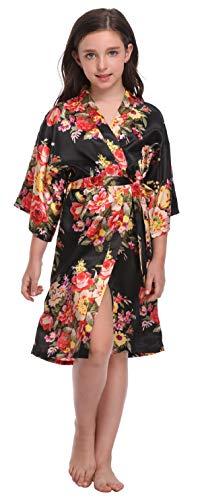 Flower Girl Satin Kimono Robes Floral Printed Bathrobes for Spa Wedding Birthday Party,Floral Black,12