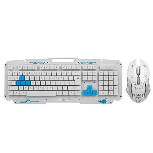 Belleashy Teclado inalámbrico inalámbrico y ratón Combo 2.4G panel de metal teclado ratón óptico 2400 dpi para PC portátil PC portátil Smart TV Gaming