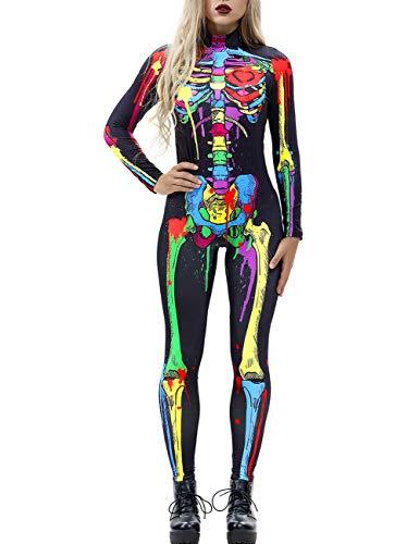 AIDEAONE Halloween Kostüm Damen Skelett Overall Jumpsuit Knochen Skeleton Anzug Karneval Fasching Schwarz S