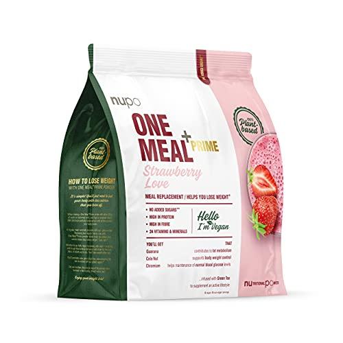 NUPO One Meal + Prime Vegan Powder Strawberry Love – Nahrungsersatz-Pulver zum Abnehmen I Mahlzeitersatz für effiziente Gewichtsabnahme I 360g I Eiweißhaltig & ohne Zuckerzusatz