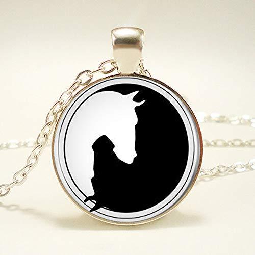 TUDUDU 1Pcs/Lote Yin Yang Caballo Logotipo Redondo Colgante Collar De Cadena Larga Declaración Hecha A Mano Collar para Las Mujeres