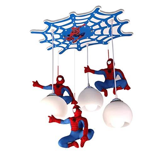H.W.S Kinderzimmer Led Deckenleuchte Pendelleuchte Kinder Hängeleuchte Schlafzimmer Spider-Man Deckenlampe Beleuchtung Kronleuchter E27 Cartoon Jungen Dekorative Lampe Wohnzimmer 3-Flammig Esszimmer