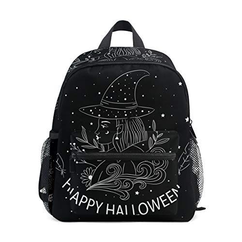SS Backpacks Mochila escolar de moda para niños con fondo de Halloween dibujado a mano con noche estrellada para niños, mochila de lona ligera para niños de 3 a 8 años de edad, 10 x 4 x 12 pulgadas
