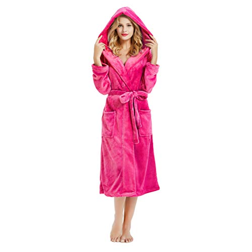 M&M Mymoon Womens Hooded Fleece Robe, Soft Plush Bathrobe for Womens, Fluffy Cute Long House Coat (Rose Hooded, 2XL/3XL)