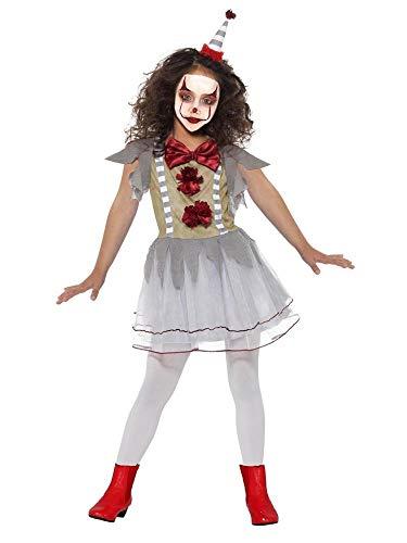 shoperama Mädchen-Kostüm Vintage Clown mit Hütchen Horror Halloween Kleid Psycho Geist Zirkus, Größe:L - 10 bis 12 Jahre