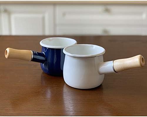 RANRANJJ 550ml de lait émail monoplateau poignée en bois Casserole beurre café Chauffage Pan Cuisine Double Verse Buse Marmite (Color : White) Blue