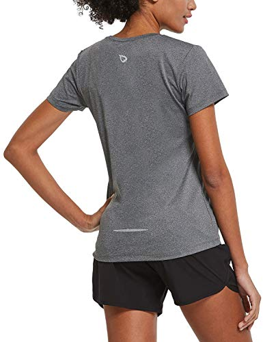 BALEAF Women's Athletic Short-Sleeved Running T-Shirts Lightweight Quick Dry Workout Yoga Crewneck Performance Tops Heather Gray Size L