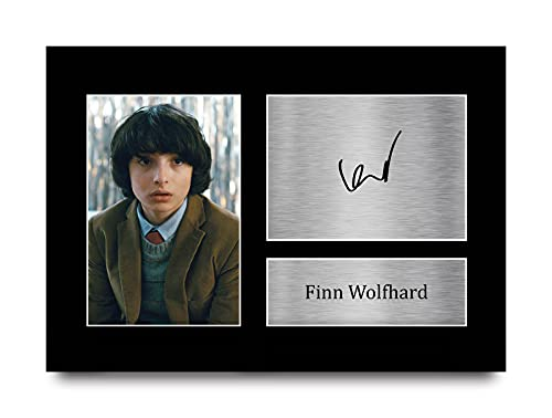 HWC Trading Foto de autógrafo Firmado para Fans de TV Memorabilia A4 de Finn Wolfhard Stranger Things Mike Wheeler Gifts