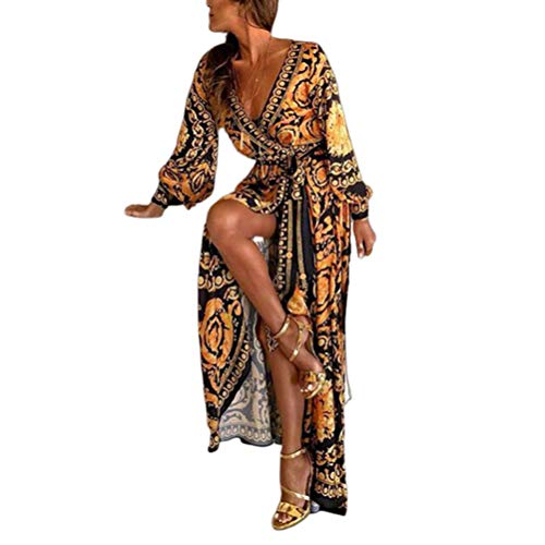 Vestidos Moda Mujer Elegante Vestido De Mujer Vestido Mode De Marca con Escote En V Escote Dividido Estampado Digital Falda Larga Verano Vestidos Maxi (Color : BlackYellow, Size : L)