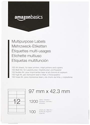 AmazonBasics Multifunctionele adressticker 1200 etiketten. 97mm x 42.3mm