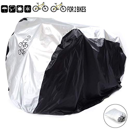 Pasway Funda para Bicicleta Cubierta Impermeable de Bicicleta Para Dos Bicicletas de 26' (Plata)