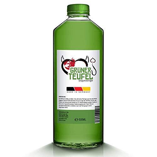 GRÜNER-TEUFEL - Enzymreiniger 500ml [NEUE VERSION 2020] | Teppichreiniger, Küchenreiniger - Polsterreiniger - Allzweckreiniger | Ideal für Sofa, Auto, Sitze, Polster (1 Flasche)