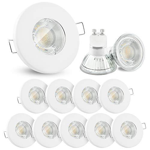 10x linovum® LED Einbaustrahler Set 3W flach IP65 weiß mit Wasserschutz für Bad, Dusche, Außen inkl. GU10 LED Lampe warmweiß