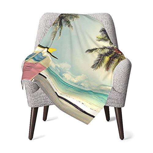 Hdadwy Manta doble para bebé Edredón para bebé Playa Decoración inspiradora de surf Minivan en la playa Tema de vacaciones retro Nubes en el cielo de verano Destino de luna de miel Manta de bebé múlti