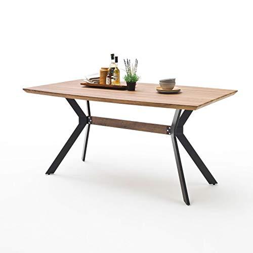 MÖBEL IDEAL Esstisch Eliot 90 x 180 cm in Wildeiche Antik Nachbildung - Tisch in Bootsform mit modernem Tischgestell