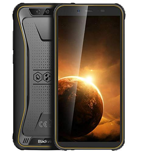 Rugged Mobile Phone【2020】Blackview BV5500 PLUS, Android 10 IP68 Outdoor Smartphone Unlocked, 3GB RAM+32GB ROM, 4G DUAL SIM, 5.5'' Full Screen, 4400mah Battery NFC, Face Unlock,GPS,Waterproof Yellow