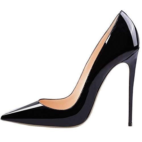 LOVIRS Womens Black Pointed Toe High Heel Slip On Stiletto Pumps Wedding Party Basic Shoes 10 M US