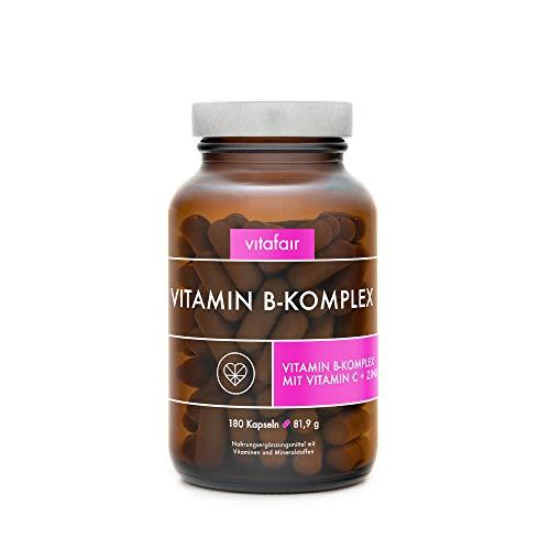 Vitamin B Komplex - Alle 8 B-Vitamine mit Vitamin C + Zink - 180 Kapseln - Hochdosierte Bio-Aktive Formen* - Vegan - Ohne Magnesiumstearat - German Quality