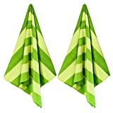 "Exclusivo Mezcla 2 Pack Microfiber Cabana Striped Large Beach Towel for Adults (Green, 30"" x 60"")-Soft, Quick Dry, Absorbent, and Plush"