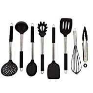 Premium 8 Piece Stainless Steel Kitchen Utensil Set – This Core Kitchen Utensils is constructed of Stainless Steel and Silicone with Heat-Resistant Silicone Handles for Safety