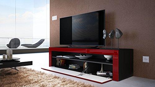 TV Board Lowboard Valencia, Korpus in Schwarz matt / Front in Schwarz Hochglanz mit Rahmen in Schwarz Hochglanz - 3