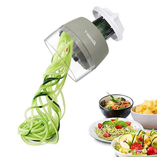 kitchen supreme spiral slicers Voaesdk Handheld Spiralizer Vegetable Slicer,4 in 1 Heavy Duty Veggie Spiralizer Zucchini Spaghetti Maker,Vegatable Spiral Slicer for Salad,Carrot,Fruit,Cucumber,Zucchini,Onion Noodle Maker (Gray)