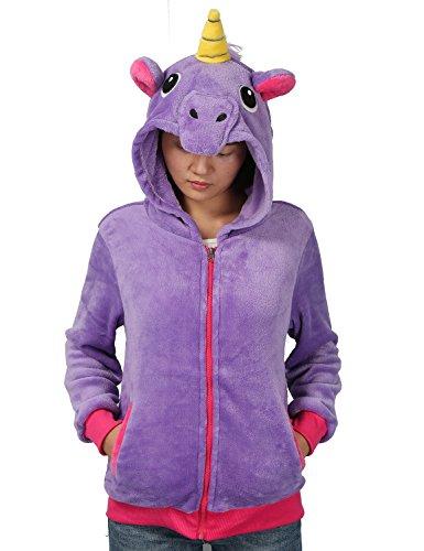 Women Unicorn Zipper Hoodie Sweatshirt Cosplay Animal Jacket Unisex Costume