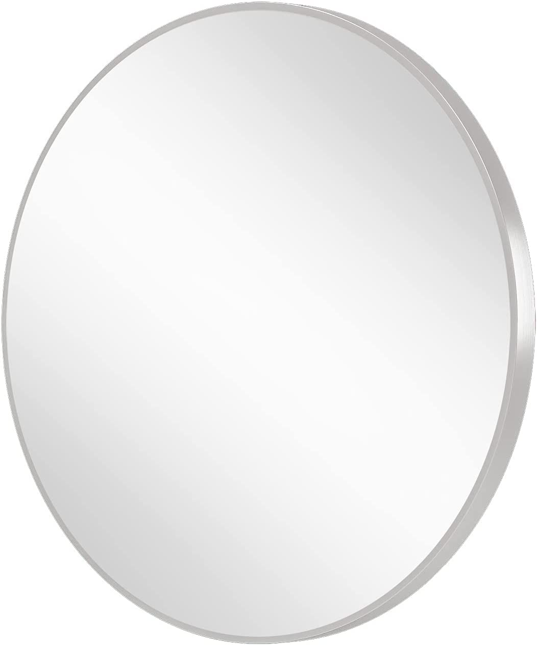 Flyoung 34 Inch Silver Circle Mirror Brushed Stainless Steel Frame Wall Mounted Round Mirrors for Bathroom Vanity Washrooms Metal Framed