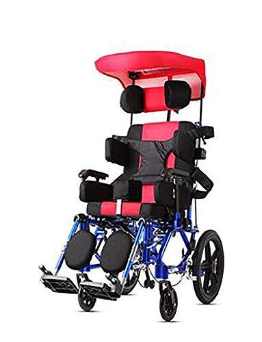 Dly Ancianos Discapacitados Parálisis Cerebral Infantil Ancianos Silla de Ruedas Plegable Portátil para Niños Discapacitados de Múltiples Funciones de Mentira Completamente Plana Reclinable Ancia