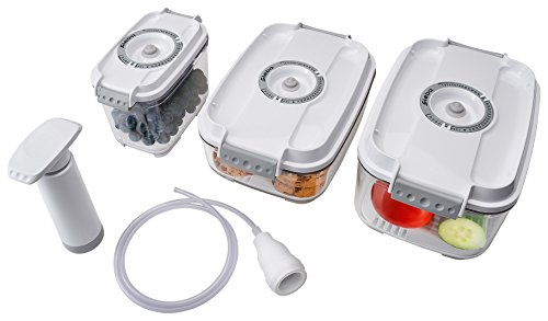 Steba 3er Set Vakuumier-Behälter inklusive Handpumpe, Weiß