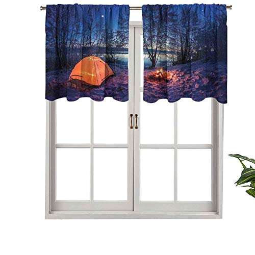 Hiiiman Blackout Short Curtain Panels Rod Pocket Dark Night Camping Tent Photo in The Winter, Set of 2, 42'x36' Small Half Window Valances for Bedroom
