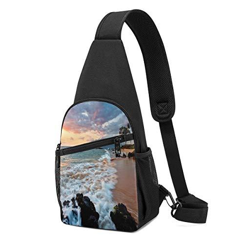 Wearibear Beach Maui Hawái Sunset nubes marinas bolsas ligeras mini mochila bandolera portátil de mano libre cruzada bolsa de pecho duradera divertida cuerda de hombro para viajar, senderismo, acampada