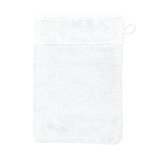 MÖVE Bamboo Luxe Gant de Toilette 15 x 20 cm, Fabriqué en Allemagne, 60% coton / 40% viscose en pulpe de bambou, Snow (Blanc)