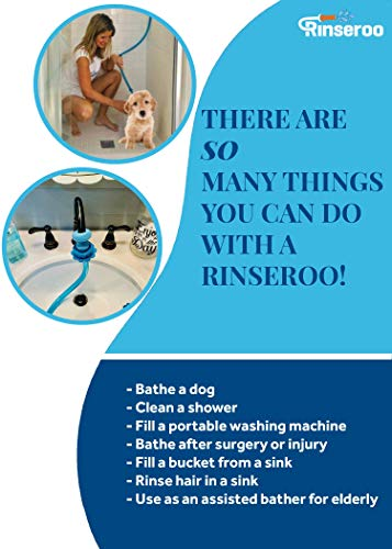 Rinseroo: Slip-on Dog Wash Hose Attachment. Pet Bather for Showerhead and Sink. Handheld Shower Sprayer/Washer. Fits Faucets up to 6