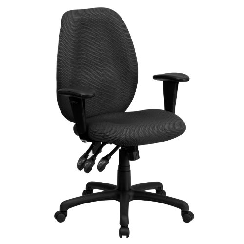 Flash Furniture High Back Gray Fabric Multifunction Ergonomic Executive Swivel Office Chair with Adjustable Arms