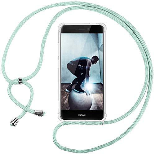 Ingen Funda con Cuerda para Huawei P8 Lite 2017 - Carcasa Transparente TPU Suave Silicona Case con Colgante-(Verde)