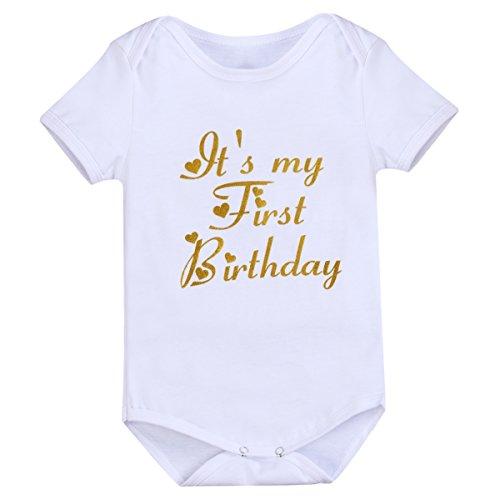 Newborn Baby Infant Toddler Girls It's My 1st Birthday Romper Bodysuit...