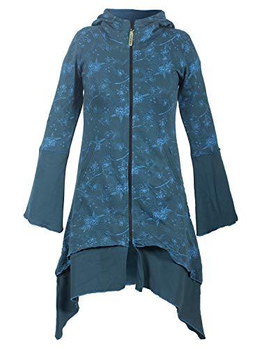 Vishes - Alternative Bekleidung - Damen Elfenmantel aus Baumwolle mit Blumendruck und Zipfelkapuze türkis 42