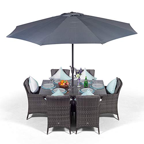 Giardino Savannah 6 Seater Rattan Garden Table and Chairs Set | Outdoor Poly Rattan Garden Dining Set Patio Furniture with Parasol & Cover - Grey