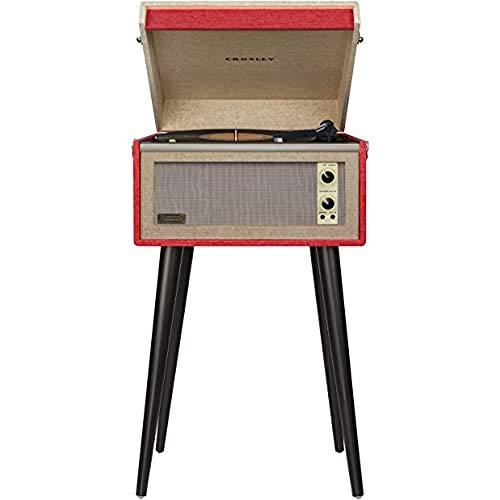 Crosley Bermuda Bluetooth Plattenspieler Im Retro Design mit Aux-in und abnehmbare Beine, Rot