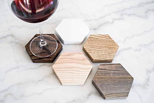 Posavasos hexagonales de madera natural para vasos o té,...