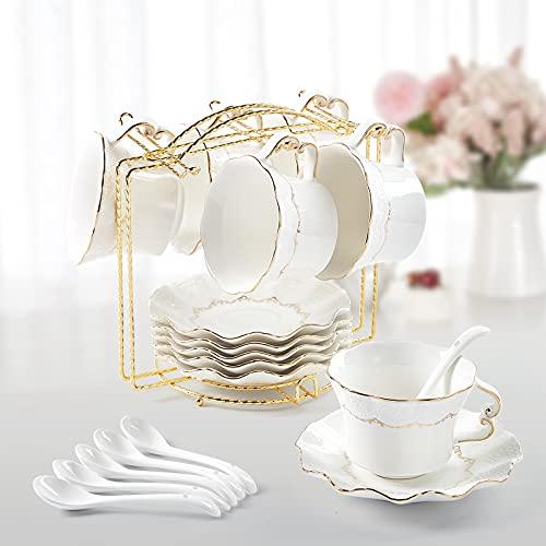 DUJUST Juego de 6 tazas y platillos de té (250 ml), taza de té de lujo con ribete dorado, tazas de café con estampado en relieve, juego de té de porcelana real británica para fiesta de té - blanco