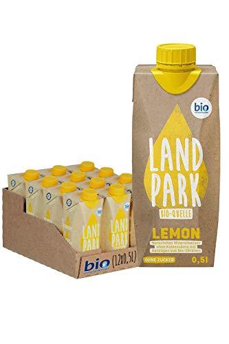 Landpark Bio-Erfrischungsgetränk Lemon, 12 x 0,5 L im Tetra Pak | natürliches Mineralwasser aus der Bio-Quelle mit Zitrone | zuckerfrei & ohne Kohlensäure | To Go | Wasser mit Geschmack | pfandfrei