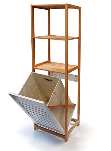 osoltus Badregal/Wäschesammler Bambus mit Wäschebox klappbar Wäschsortierer Weiss 120cm