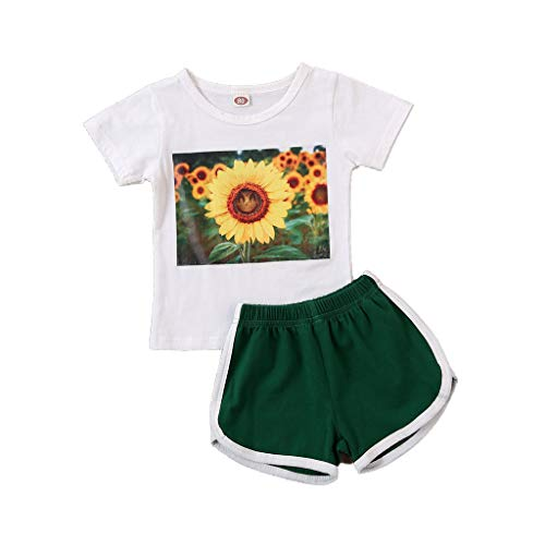 Shan-S 2Pcs Kids Baby Girls Sunflower Print Short Sleeve T-Shirt Top + Sports Shorts Pants Summer Outfits Sports Clothes Tracksuits 2-7Y