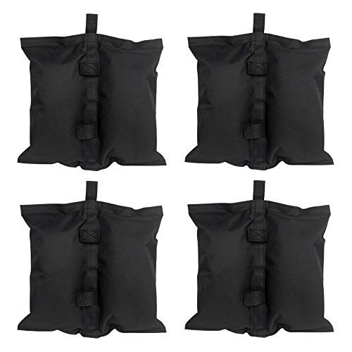 LZQ Sacchi di sabbia per gazebo di qualità industriale, confezione da 4 pezzi, con doppia cucitura, per gazebo a baldacchino pop-up, per tenda da baldacchino, colore nero