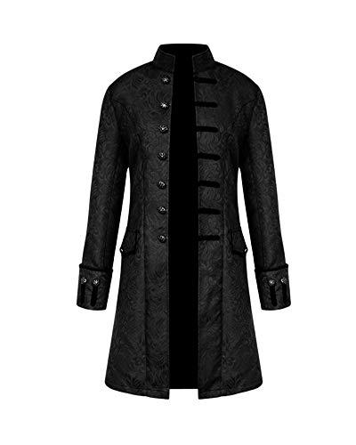 Chaqueta Abrigo Steampunk para Hombres Abrigo Renacentista Medieval Negro XL