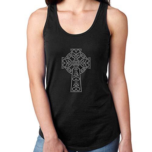 Camiseta para mujer con cristales de imitación y cruz celta - Negro - Small
